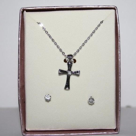 New in box silver cross necklace w earrings